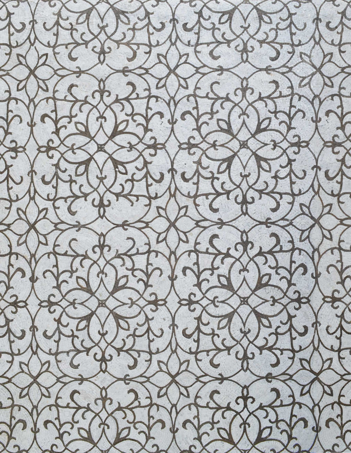 Patterned Floral Design on Marble Mosaic Tile Art