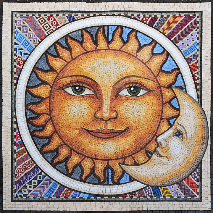 Mosaic Wall Art - Mexican Sun and Moon