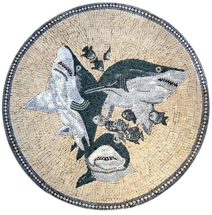 Sharks Medallion Mosaic Art
