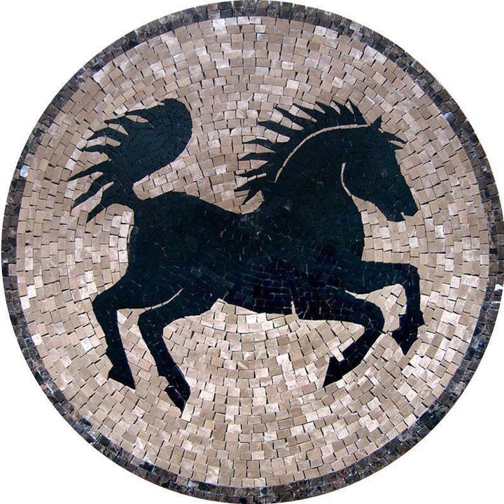 Medallion Mosaic Art  - Black Horse