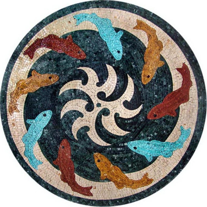 Multicolored Dolphins Nautical Medallion Mosaic