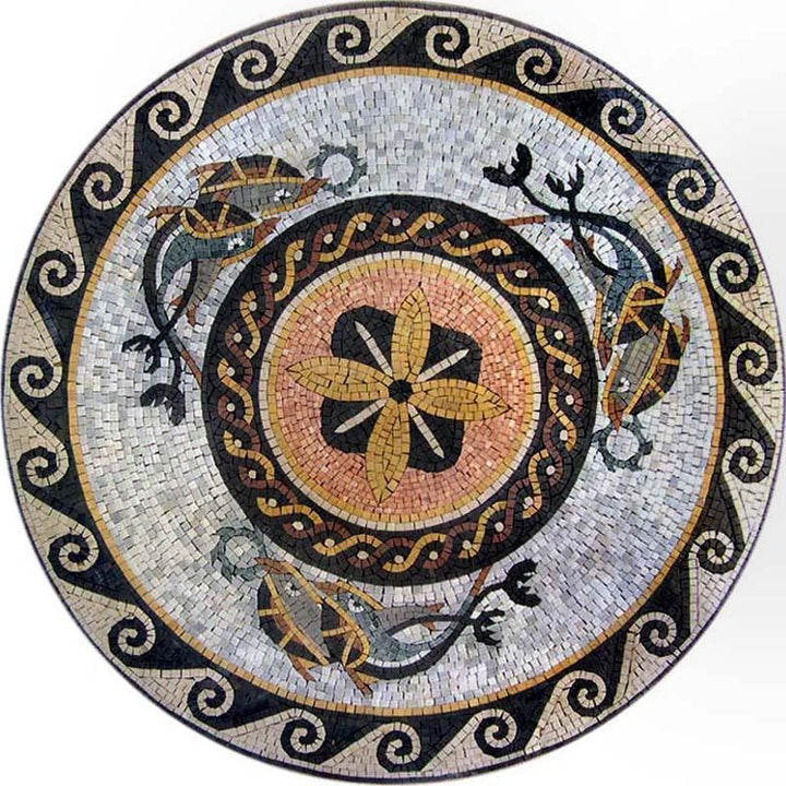 Nautical Fish Medallion Mosaic