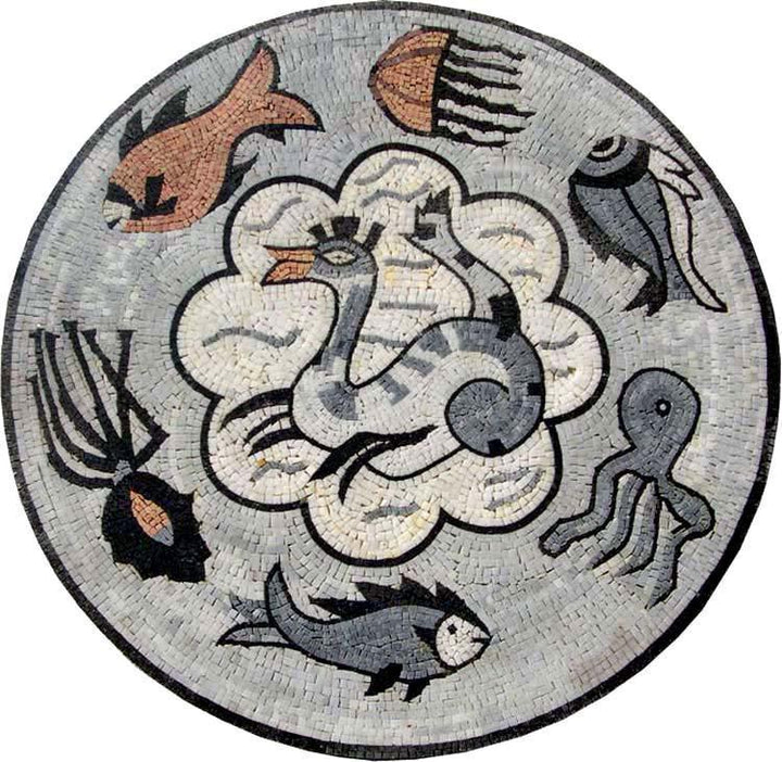 Round Marble Mosaic - Sea Creature