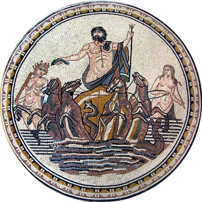 Neptune God Of Sea Mosaic Medallion Mural