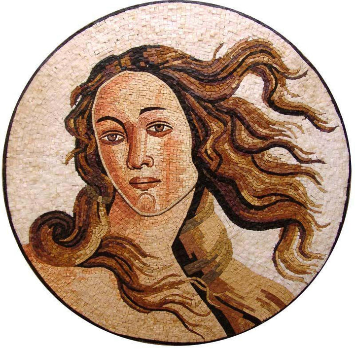 The Face of Venus Goddess Of Love and Beauty Medallion Mosaic