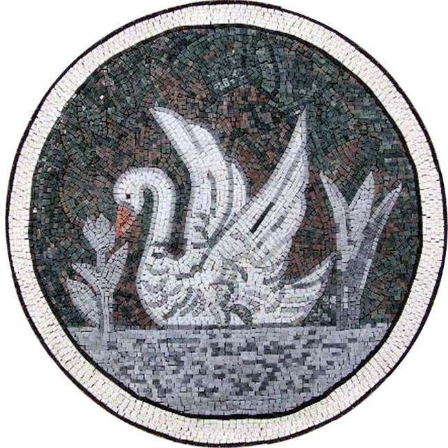 Medallion Mosaic Art - White Swan