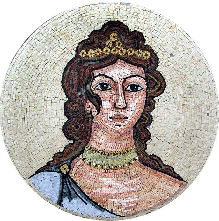 Illustrated Portrait Medallion Mosaic Art