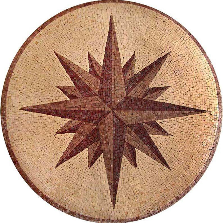 Round Nautical Mosaic - Compass Rose
