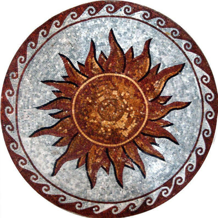 Sun and Waves Medallion - Scilla Mosaic