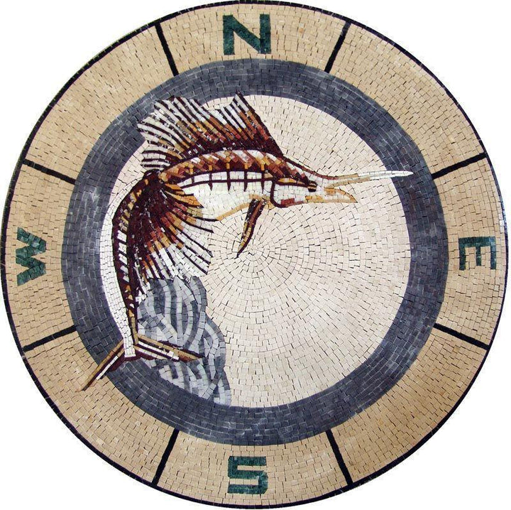 Marble Mosaic Medallion Pool Bath Wall Floor Tabletop- Sailfish