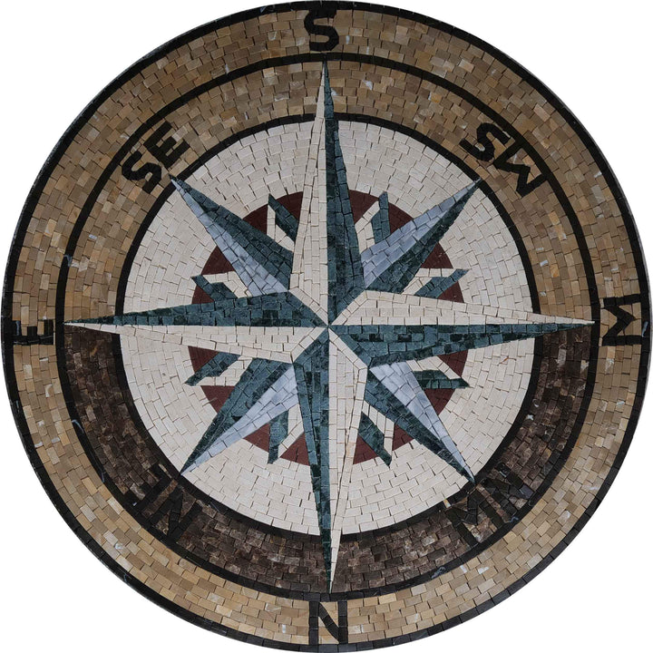 Mosaic Compass Medallion - Sandy