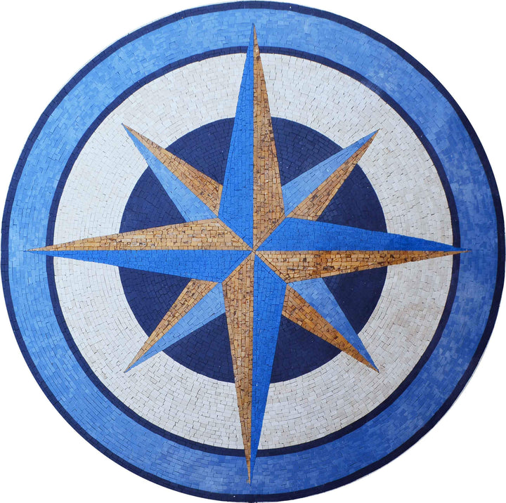 Mosaic Medallion - Azul Compass Design