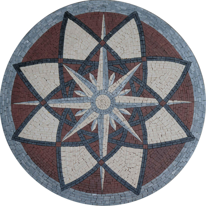 Compass Flower Mosaic Medallion Art