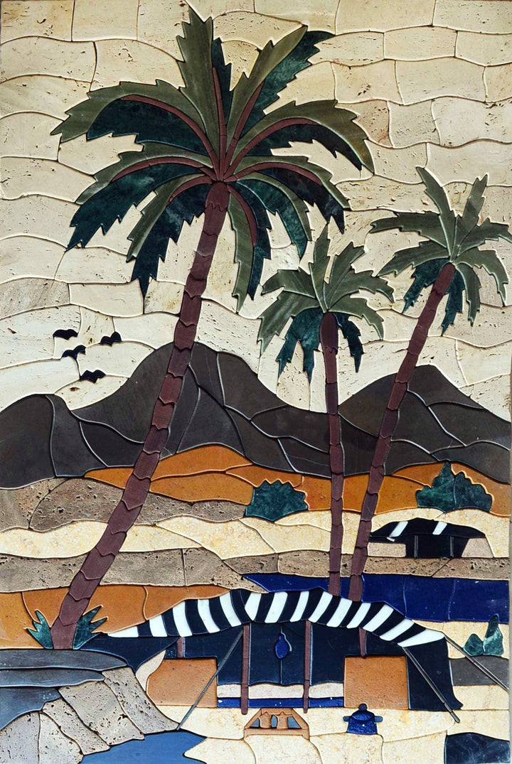 Mosaic Artwork - Palm trees