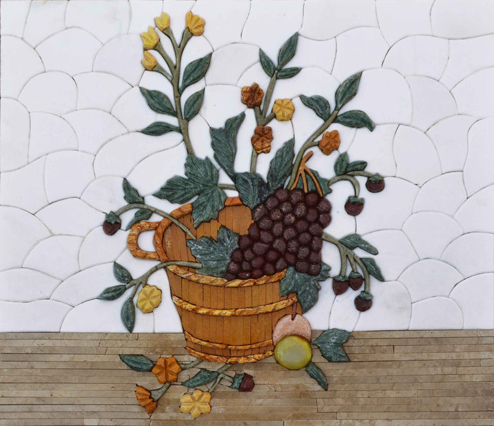 3D Marble Mosaic - The Grape Basket
