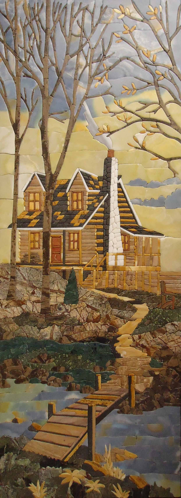 Mountain House Stone Art Tile Mosaic