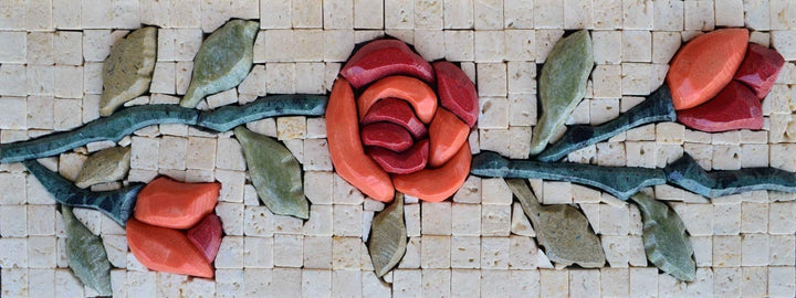 Stone Art Mosaic - 3D Rose & Buds