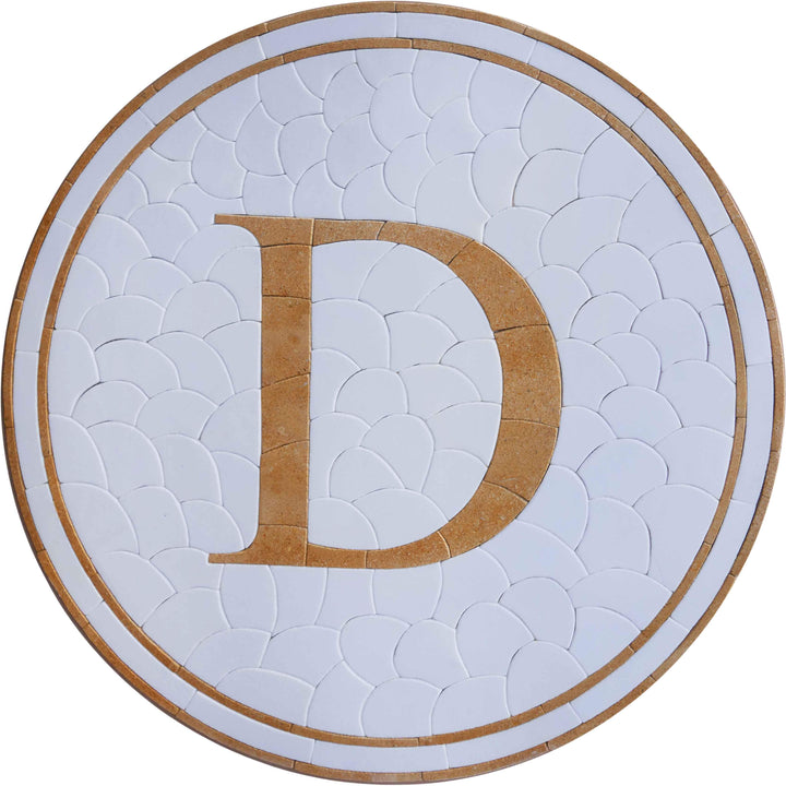D Mosaic Initial With Pebbles Mosaic Background - Mosaic Medallion