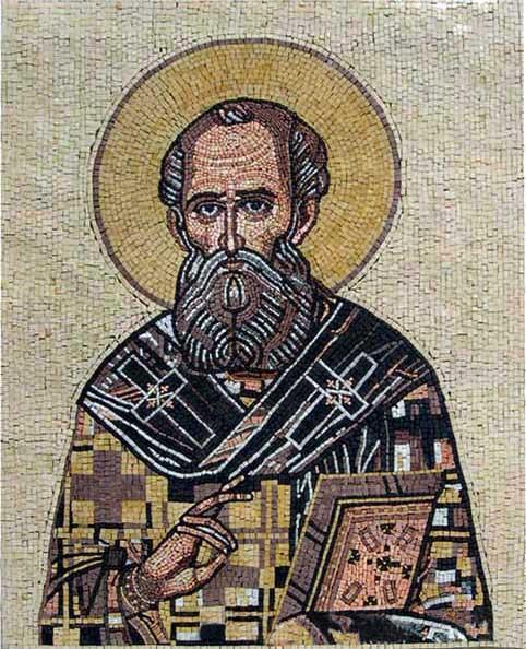 Christian Icon of a Saint in Marble Mosaic Tiles
