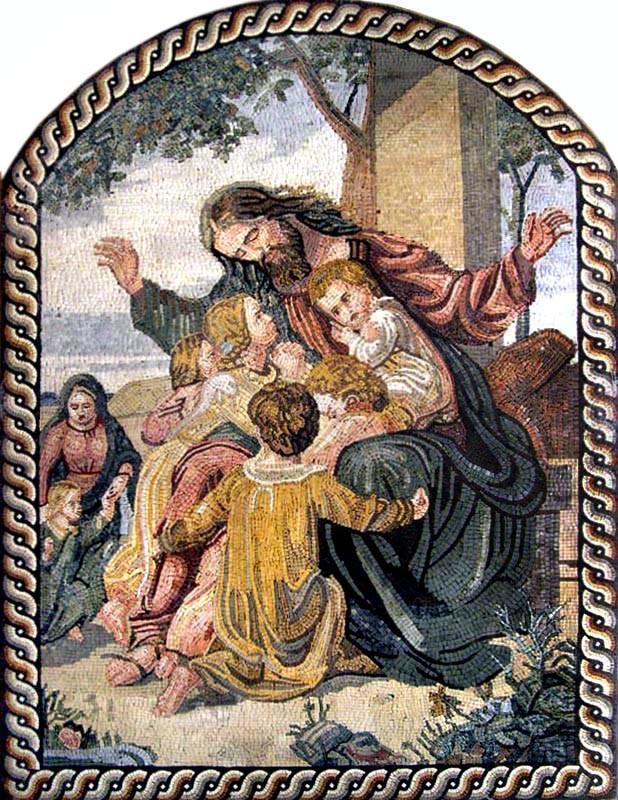 Jesus Preaching Love to Children Mosaic