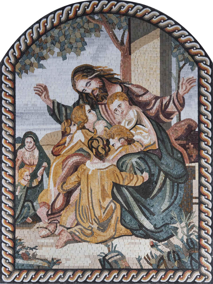 Religious Mosaic Art - Jesus with the children | Clearance | Mozaico