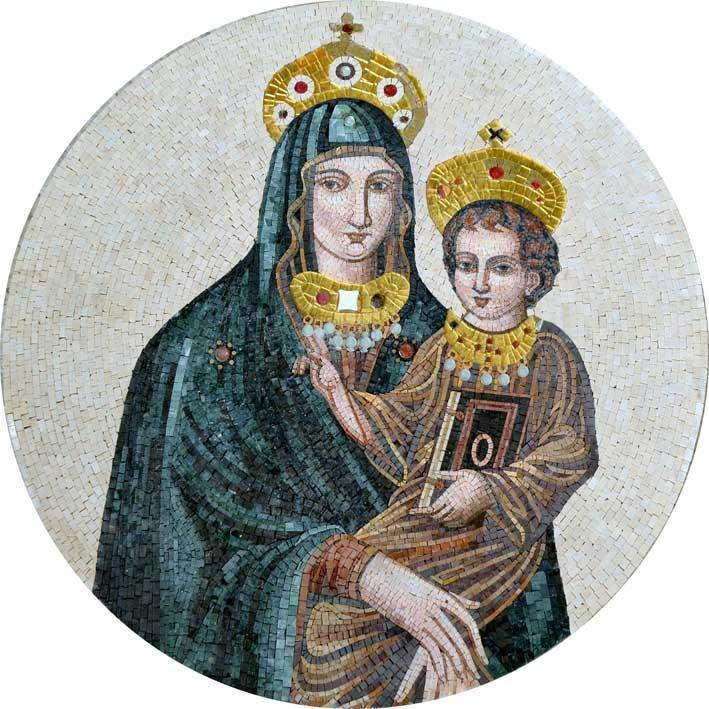 Medalion Art of Virgin Mary and Jesus Mosaic