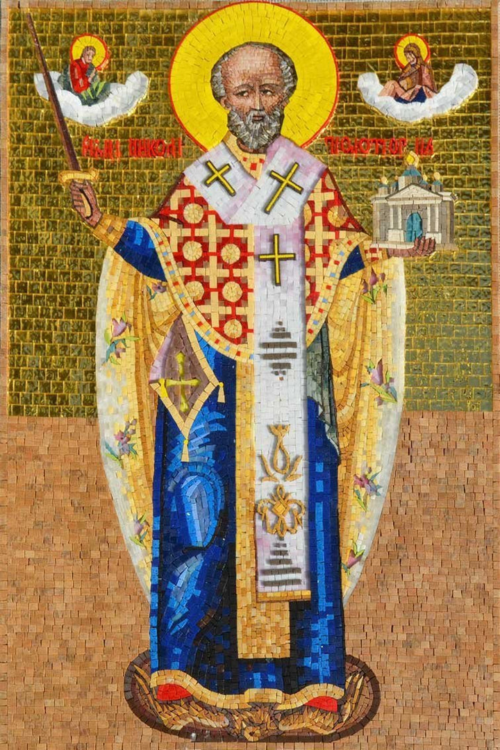Saint Nikolas Mosaic Glass Art