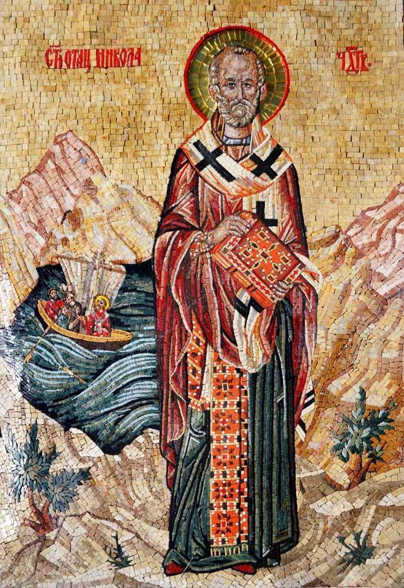 Saint Nicholas Marble and Glass Mosaic Icon