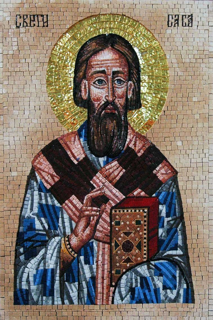 Saint Sava Icon Mosaic Stone Art