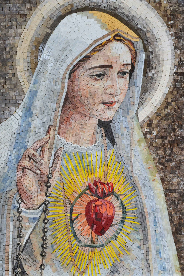Virgin Mary Sacred Heart Marble Mosaic