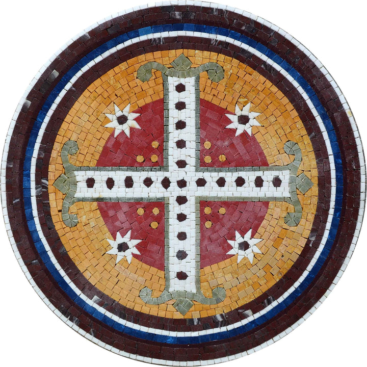 Cross Medallion Marble Mosaic