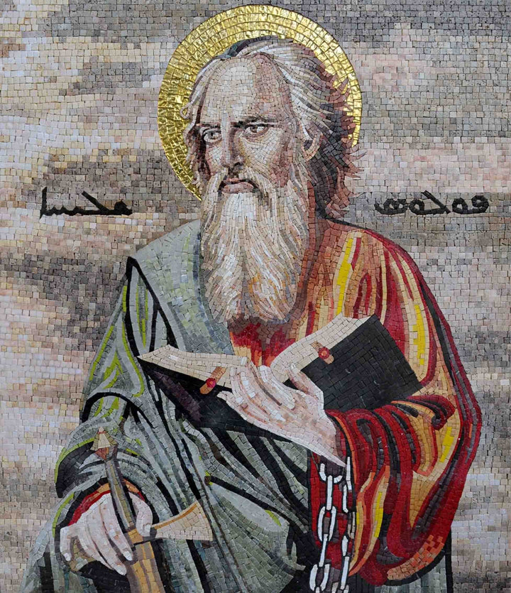 Mosaic Icon - St. Paul Holding Bible and Sword Mosaic