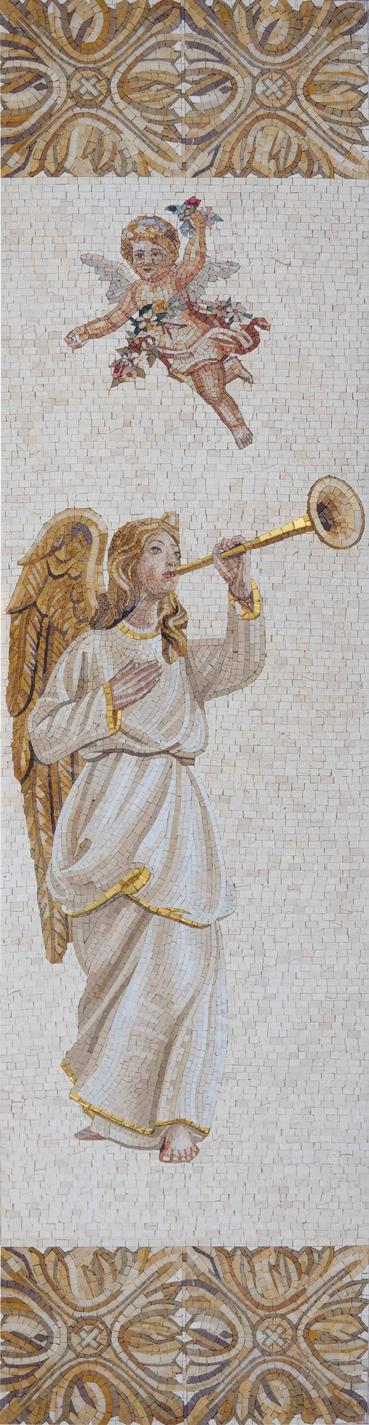 Angel Playing the Trumpet - Mosaic Art