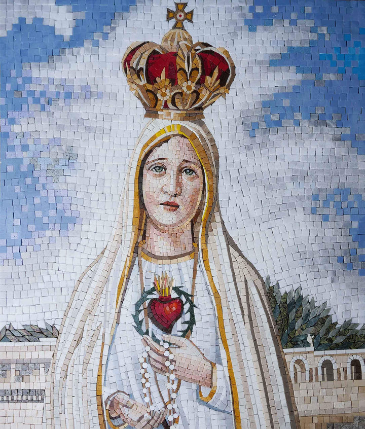 Holy Santa Maria In White -  Religious Mosaic Wall Art