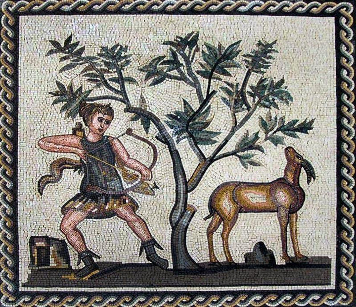 Mosaic Design of a Roman Hunting Scene