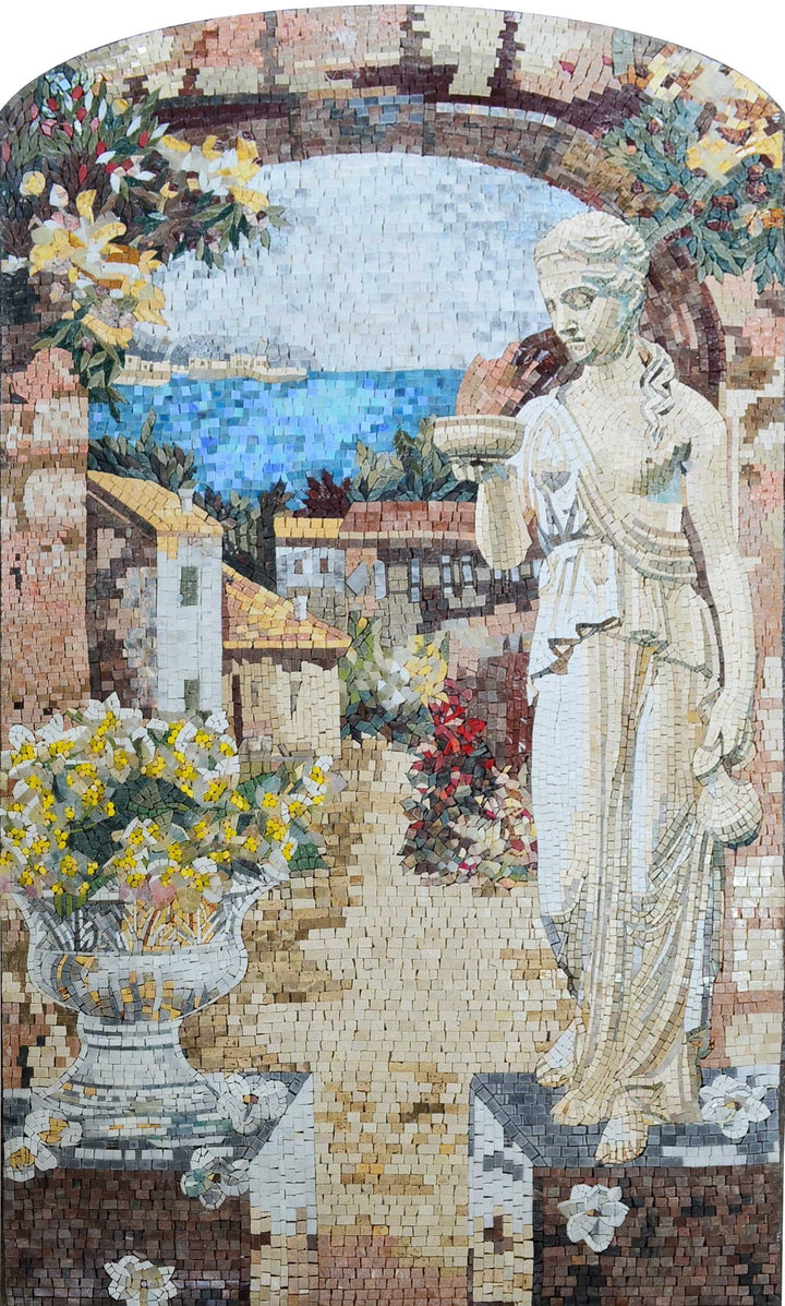 Statue at the Village Entrance Marble Mosaic Mural