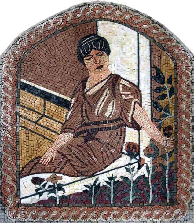 Sitting woman at the window stone mosaic mural