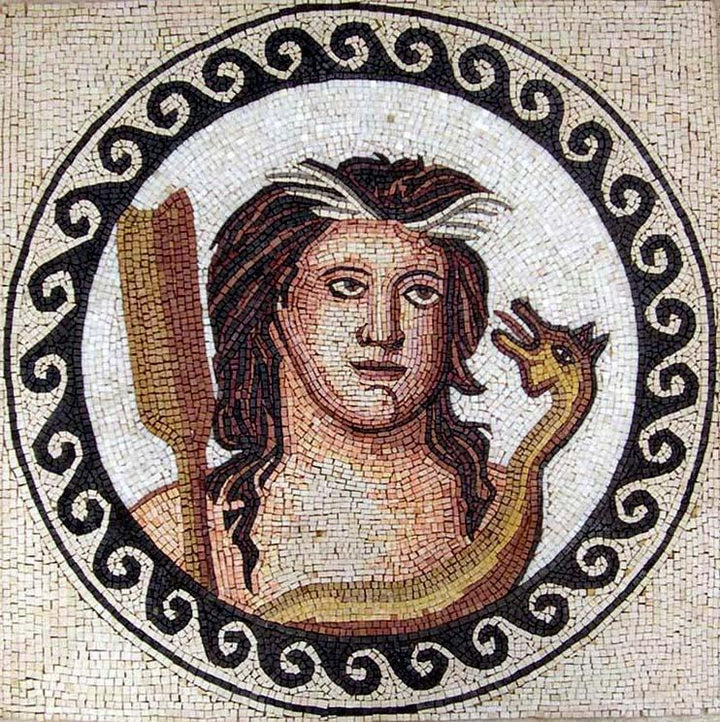 Medallion The Portrait of the Greek God Of Shepherds Mosaic