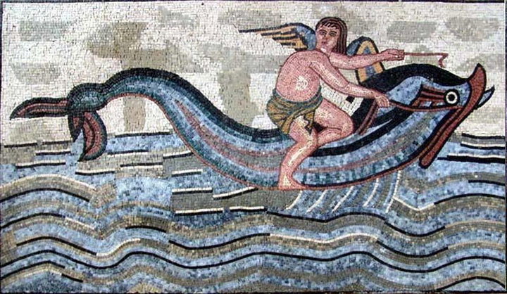 Angel Riding a Dolphin Mosaic Mural