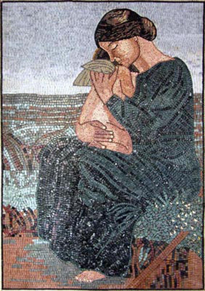 Woman with an Angel Marble Mosaic Mural
