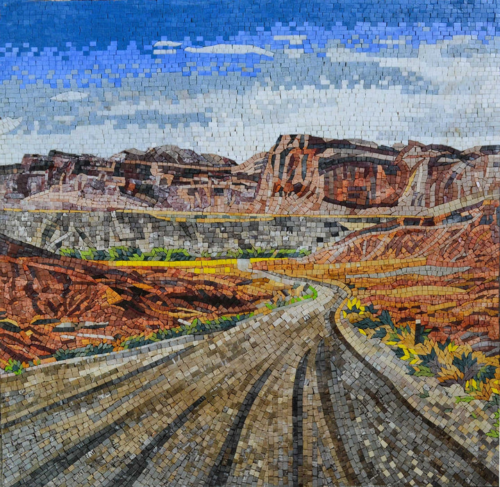Red Canyon Road Mural Marble Mosaic