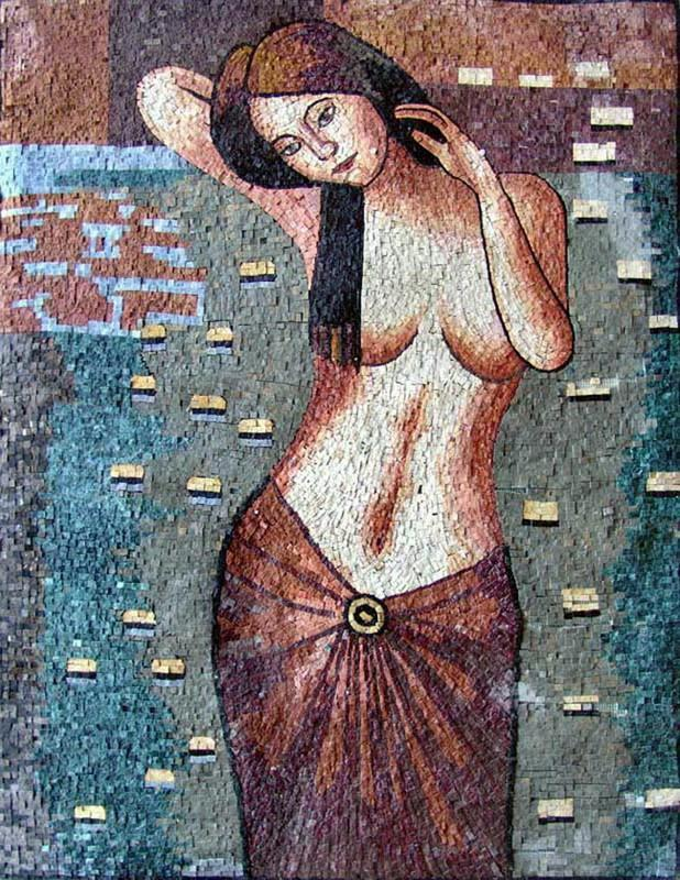Woman In a Lake Of Lotus Flowers Mosaic