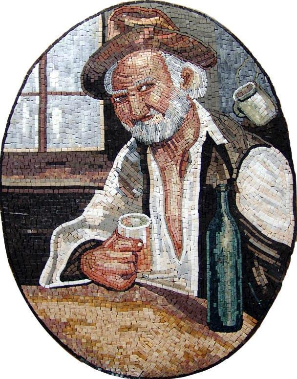 Old Man with a Bottle of Wine Marble Mosaic Mural