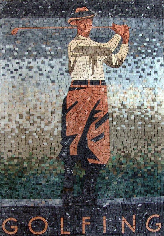 Golf Player Mosaic Mural