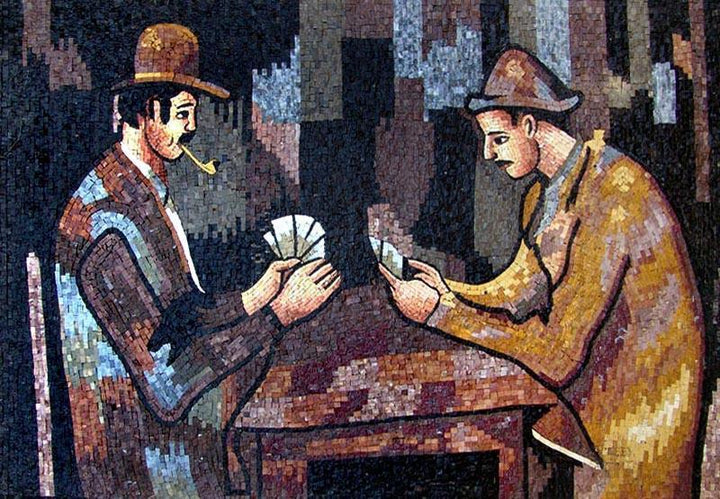 Card Players Marble Mosaic Mural
