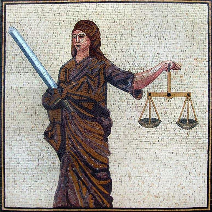 Lady Justice with her Balance Custom Mosaic Mural