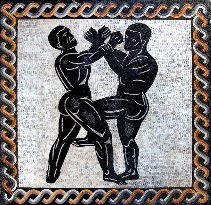 Men Fighting Mosaic Art