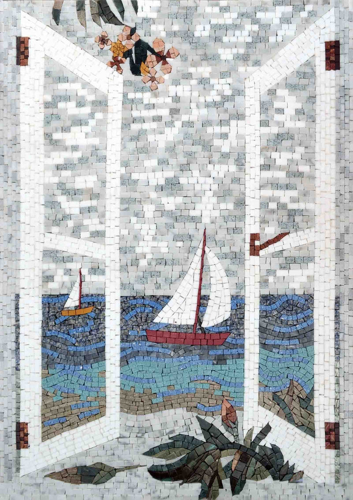 Mosaic Wall Art - Sailing Balcony View