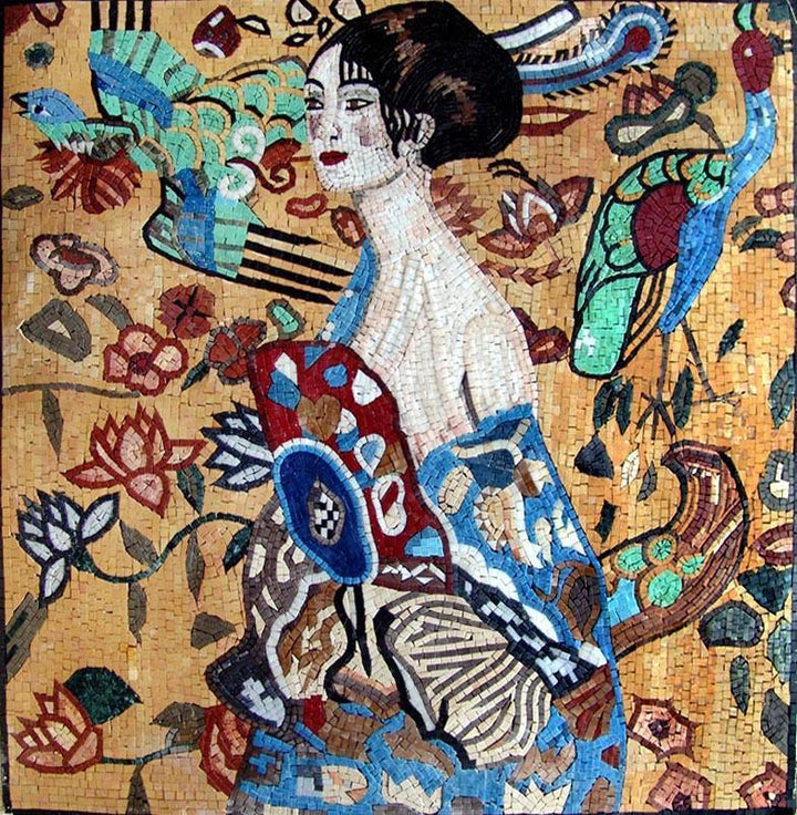 Gustav Klimt Lady With Fan - Mosaic Art Reproduction