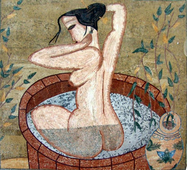 Old Bathing Nude Marble Mosaic Art